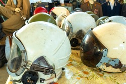 Different Old Military khaki helmets. helicopter pilot, Flight,Retro style helms.  Concept soldiers and military