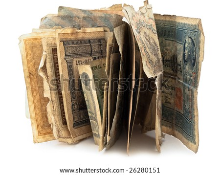 different old paper currency over the white background