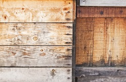 Different old wooden planks close-up