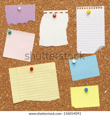 Different papers tacked on cork board.