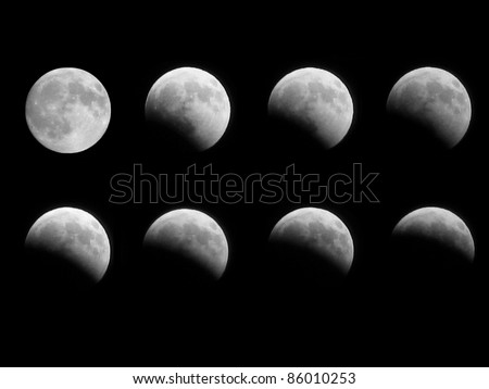 Different phases of the moon eclipse that took place on 16th august 2008