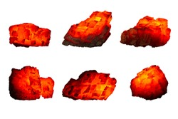 Different pieces of hot coal isolated on a white background close up. A group of burning coals of various shapes and temperatures. Raw coal mine nuggets on fire for power and fuel  industry