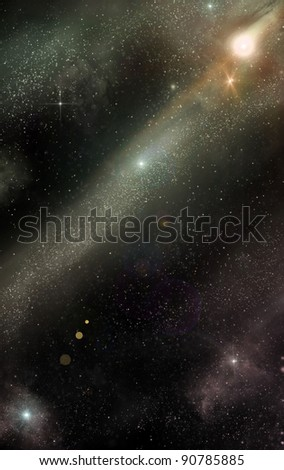 different planets in outer space, abstract
