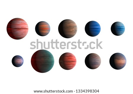 Different planets isolated on white background. Elements of this image furnished by NASA.