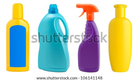 Different plastic bottles isolated on white background