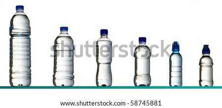 different plastic water bottles