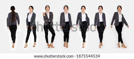 Different pose of same Asian woman full body portrait set on white background wearing formal business suit in studio collection . Stock fotó ©