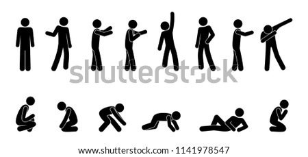 different poses, a man stands, sits and lies, simple pictograms, icons of human figures, a set of silhouettes of a stick figure