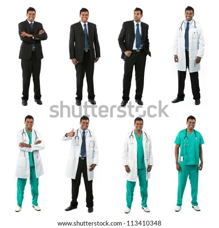 Different poses of the same male model wearing business and medical clothing. Isolated over white background.
