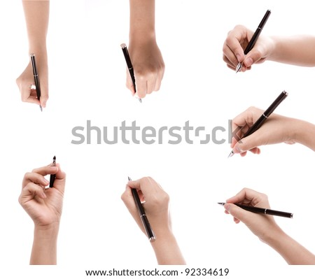 Different positions of hands with pens  on a white background