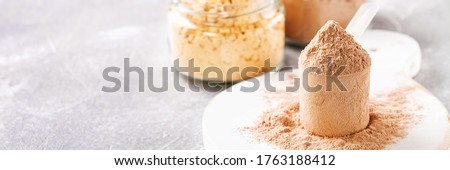 Different protein powder for sports food. Fitness food. Banner. Copy space Stockfoto ©