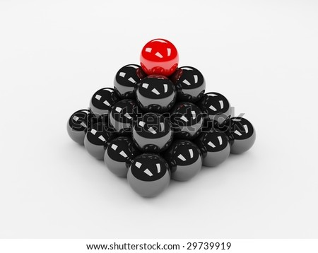 Different red ball on top of the black ones