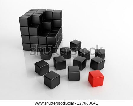 Different red cube