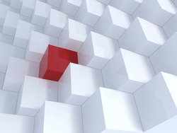 Different red cube with white cubes, Background