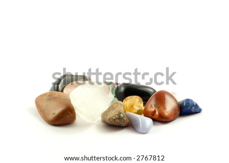 Different rock crystals isolated on white background - stock photo