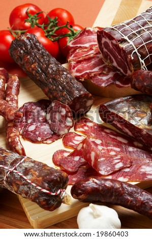 Different salami and meat product