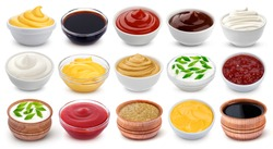Different sauces isolated on white background