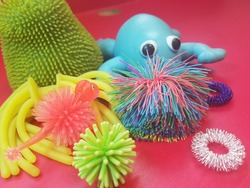 Different sensory toys for therapy