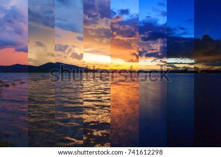 Stock Photo Different shade color of Lake view in sunset time in same frame