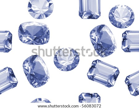 Different shaped diamonds isolated on white seamless texture - stock photo