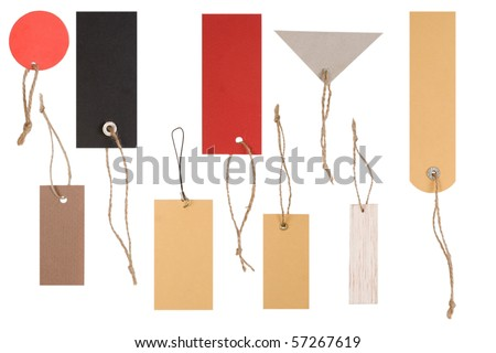 different shapes of empty colored tags on white background