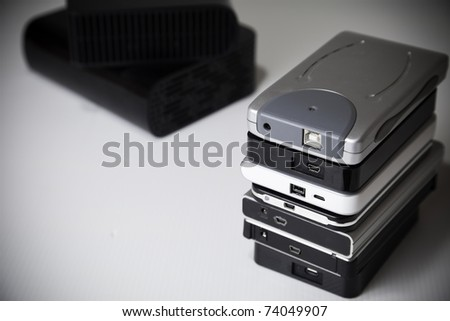 Different size of hard drives in stack.