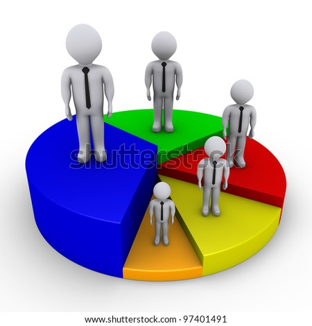Different sized 3d businessmen on pieces of pie chart