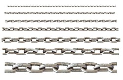 different sizes of stainless chain isolated on white background, can be connected unlimited each.