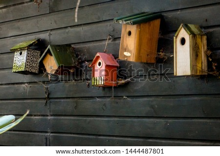 Different sizes, types and colors birdhouses hanging on a black wooden wall with cobwebs. Stockfoto ©