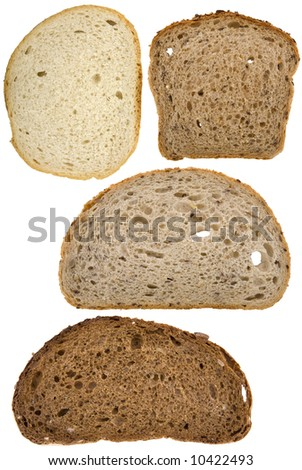 Different slices of bread isolated on white - stock photo