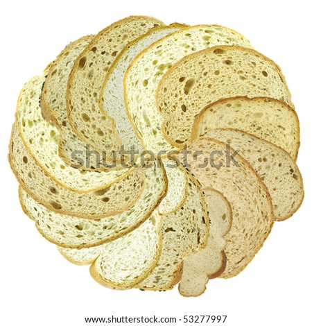 Different slices of bread isolated on white