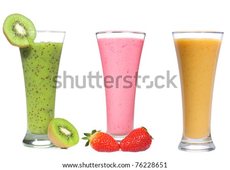different smoothie with fruits and berries on white background