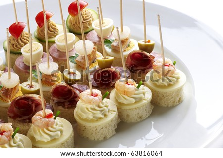 Different sort of canape for a self service buffet Stock fotó ©