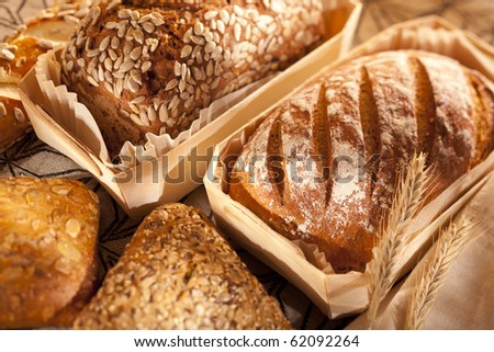 different sorts of fresh baked bread