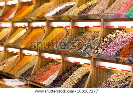 different spices and tea on market