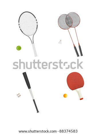 different sport equipment isolated on white