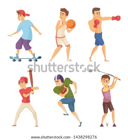 Different sports activities. Sportsmen in action poses. characters. Man train boxing and golf, baseball and rugby illustration