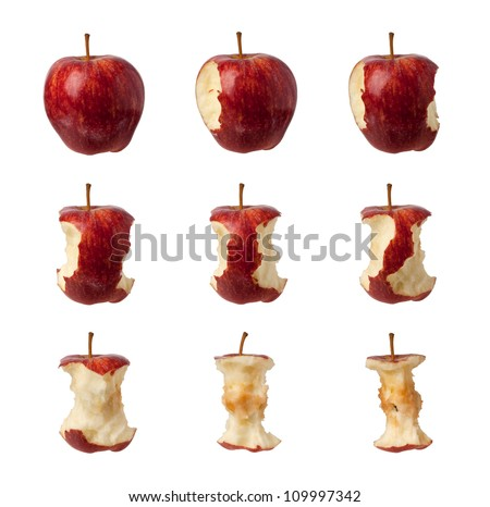 Different stages of an apple being eaten isolated on white background