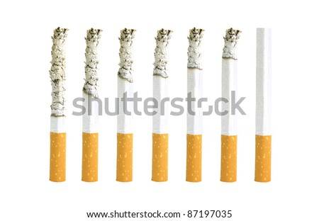 Different stages of smoking a cigarette