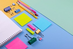 different stationary items on minimalism background