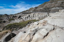 different stone formations called Hoodoos, hiking trail around them, Drumheller, Alberta, Canada