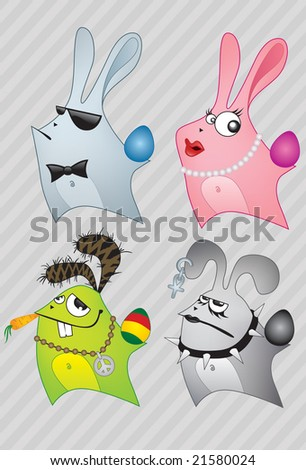 Different style Easter bunnies with eggs