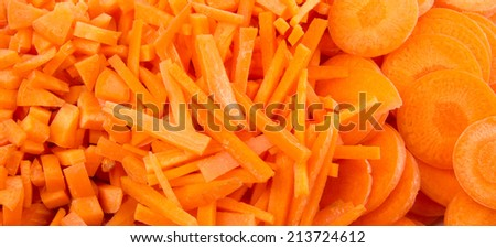 Different style of chopped carrots in white plate over white background
