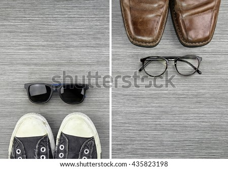 Different Style of men fashion, Compare of formal and casual men fashion style, Sneakers, Leather Shoes, Sunglasses, Nerd Glasses. (Color Process)