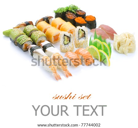 Different Sushi and rolls - stock photo