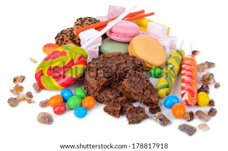 Different sweets isolated on white #178817918