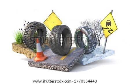 Different tires. Winter, summer and offroad wheels on the pieces of ground. 3d illustration Foto stock ©