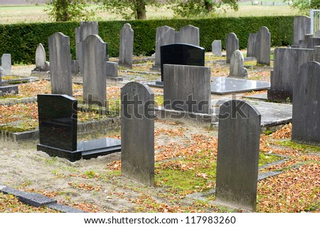 Different tombstones on a graveyard in the autumn