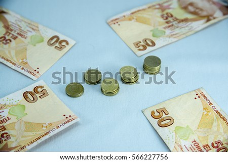 Different Turkish Coins and banknotes in different sizes and shapes