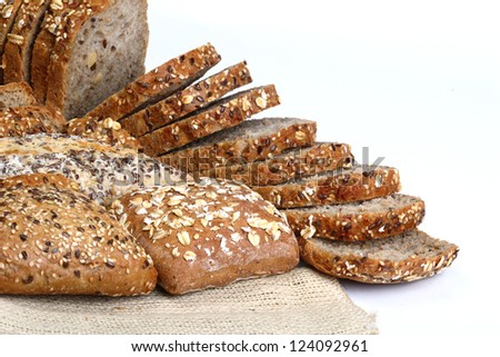 different type of bread on white background